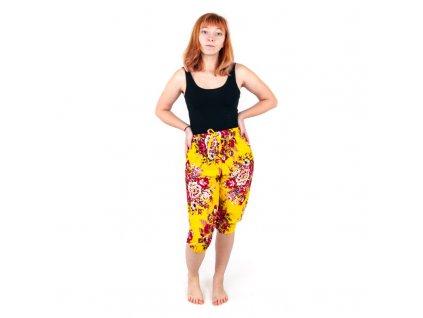 Kraťasy Yoga Květiny žlutá