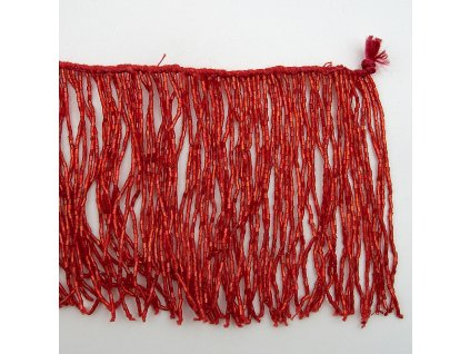 Třásně korálkové 10cm červená
