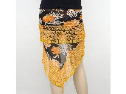 Šátek na břišní tanec velký s korálky žlutá
