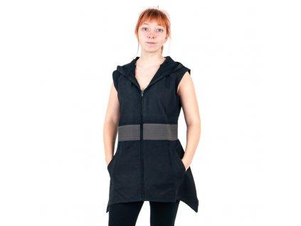 Tunika Zoe s kapucí L černo šedá