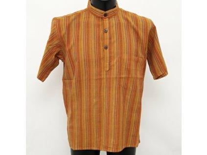 Košile kurta Roman krátký rukáv M oranžová