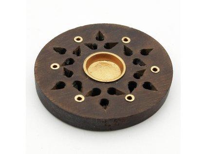 Stojánek na vonné tyčinky - talířek dřevo Hvězda 7,5 cm