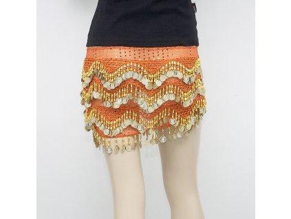 Šátek na břišní tanec třpytky oranžová