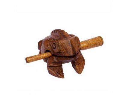 Hrací žába dřevo 12 cm světlá