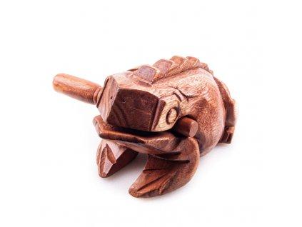 Hrací žába dřevo 16 cm světlá