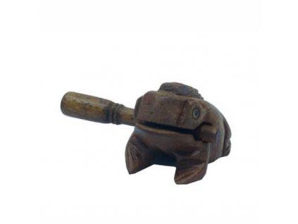 Hrací žába dřevo 8 cm tmavá