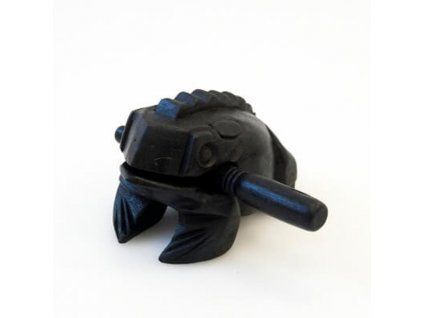Hrací žába dřevo 14 cm tmavá