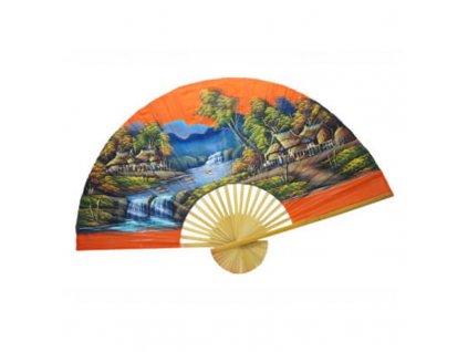 Vějíř bambus Vesnice 01 plátno 150 x 90 cm