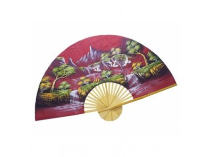 Vějíř bambus Jeřábi 02 plátno 150 x 90 cm