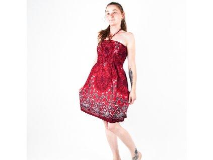 Šaty bez ramínek Ornament Mandala červená