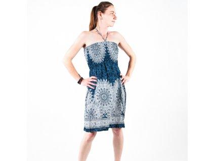 Šaty bez ramínek Mandala Art modrá