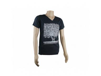 Tričko pánské Deer Tree V-výstřih M černá