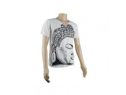 Tričko pánské Buddha Head V-výstřih M bílá