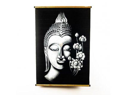 Závěsná dekorace textil Buddha Flowers 100 x 70 cm bílá