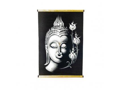 Závěsná dekorace textil Buddha Flowers 70 x 48 cm bílá