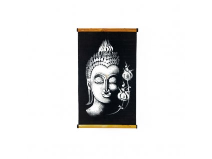 Závěsná dekorace textil Buddha Flowers 02 56 x 36 cm bílá