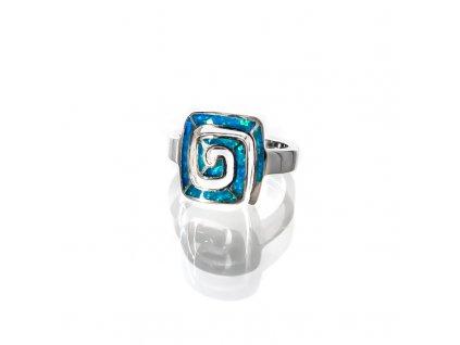 Prsten stříbro Spirála hranatá modrý syntetický opál 06