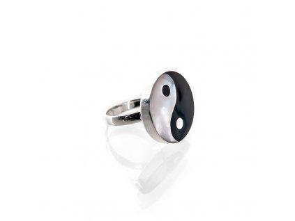 Prsten stříbro Jin Jang perleť 07