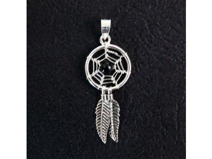 Přívěsek stříbro Lapač s pírky černý korálek