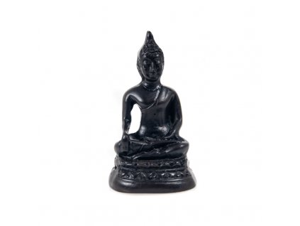 Soška resin Buddha Touching 6 cm černá