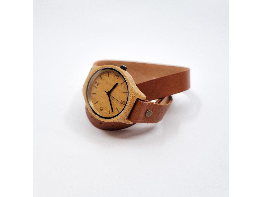 Bambusové hodinky wrap brown