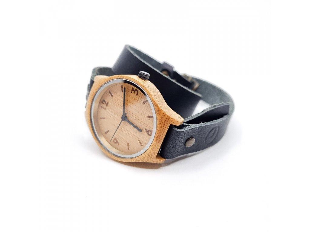 Bambusové hodinky wrap černá