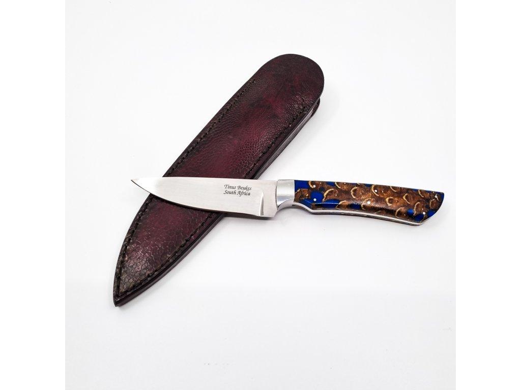 Ručně kovaný pevný nůž, stabilizovaná borová šiška, pštros