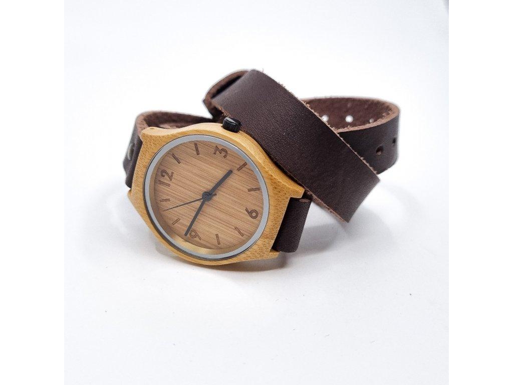 Bambusové hodinky wrap chocolate