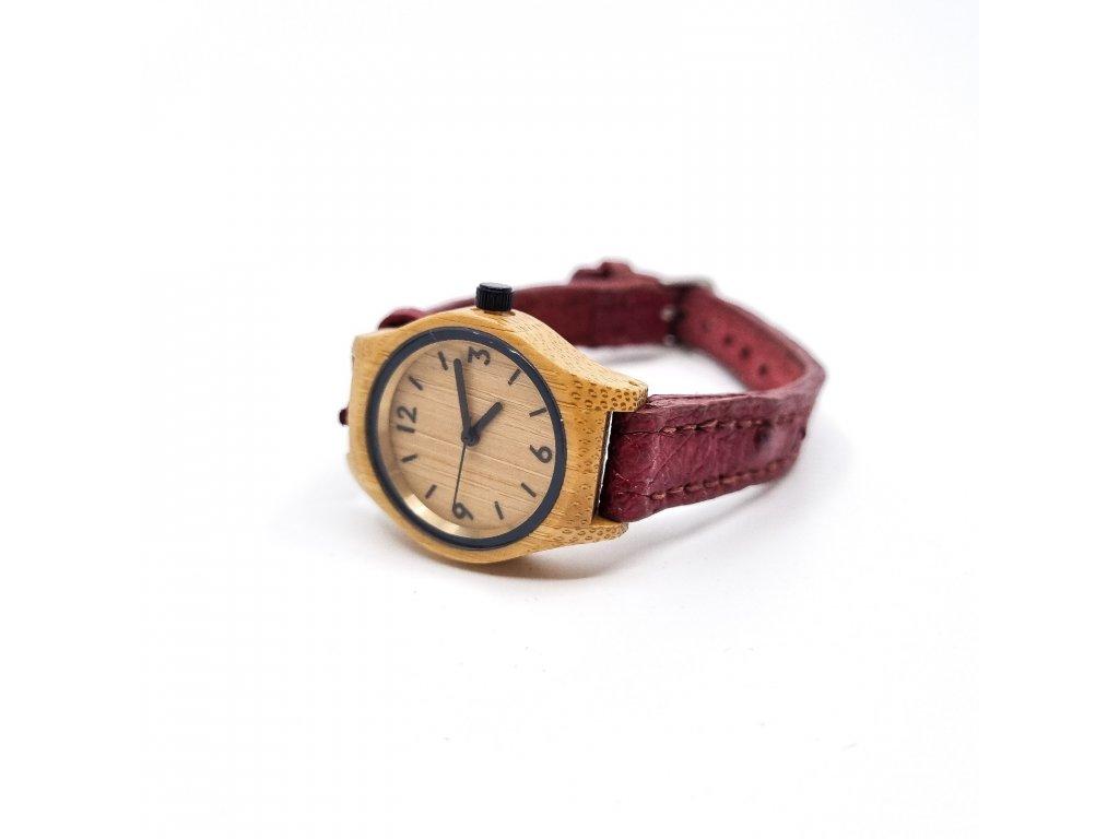 Dřevěné hodinky červená pštros
