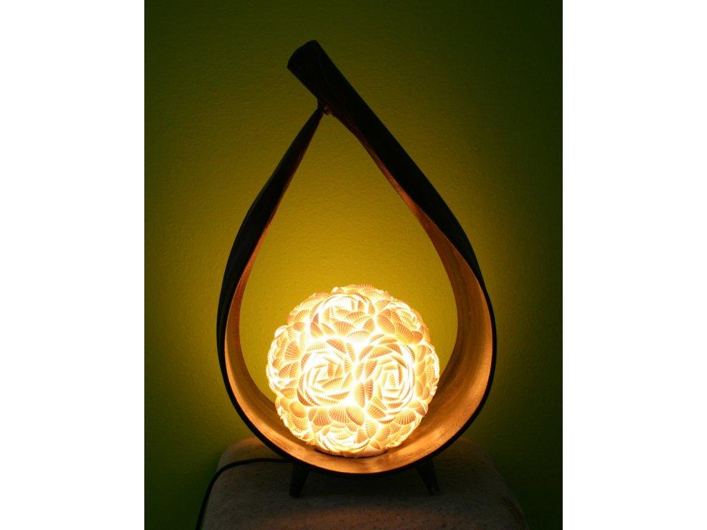Originální stolní lampa z palmového listu a lastur (mušlí) 40cm - rose