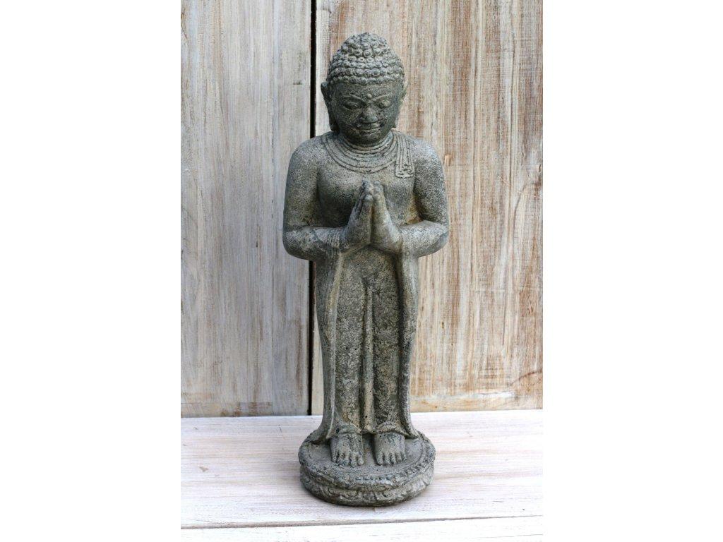 Socha Budha Buddha stojící meditující 60cm patina grey