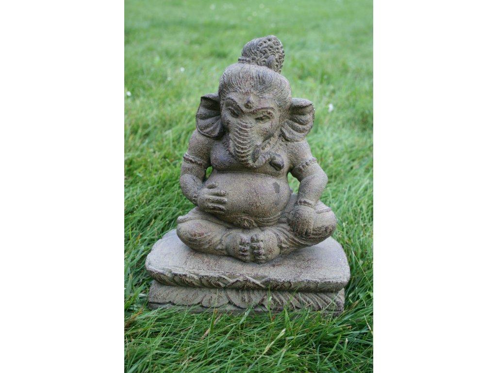 Socha Ganesha s držákem na vonné tyčinky 25cm patina BY