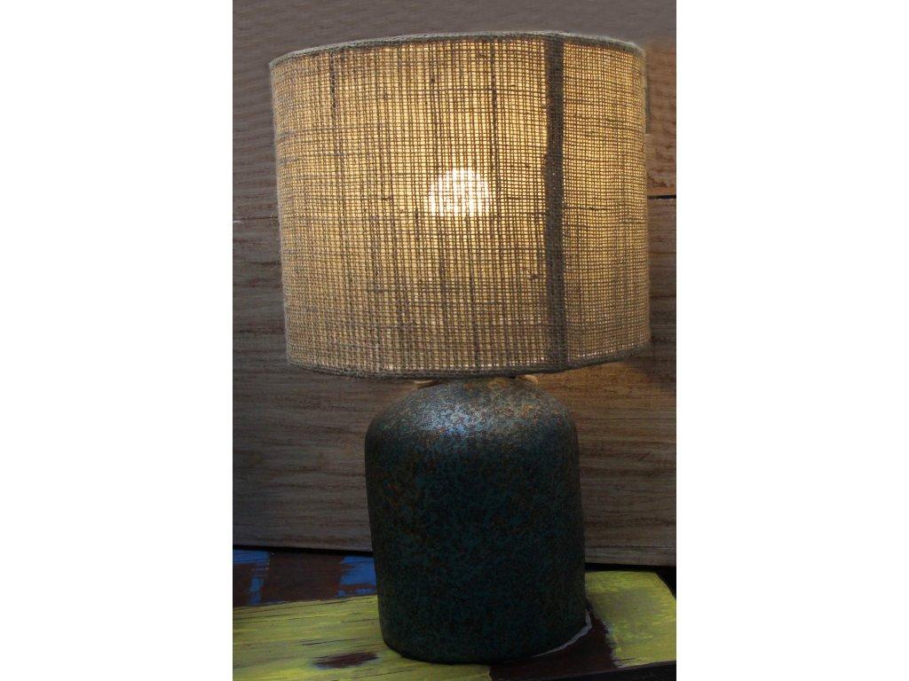 Stolní lampa se stínidlem z juty 40x20x25cm zeleno-hnědá patina