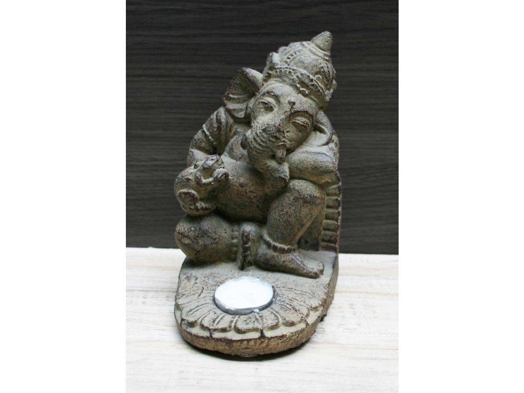 Socha Ganesha na čajovou svíčku 20cm patina BY
