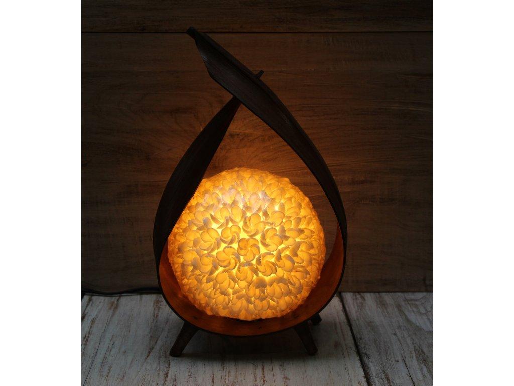 Stolní lampa z palmového listu z lastur 40cm lotus