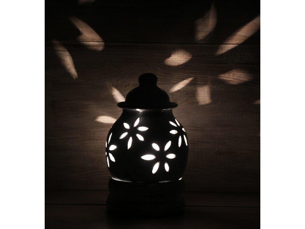 Stolní lampa lucerna terakota 23cm