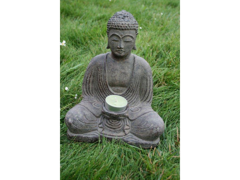 Socha Budha Buddha na čajovou svíčku 20cm patina BY