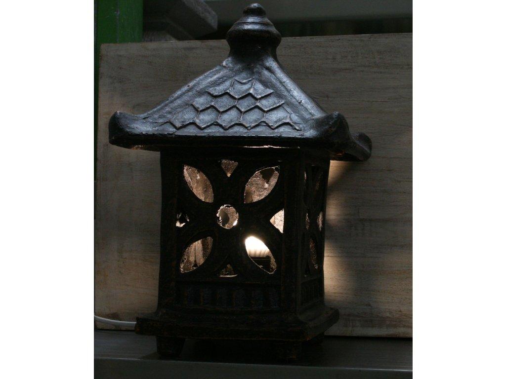 Orientální zahradní lampa pagoda - svítilna 36x23x23cm tmavá