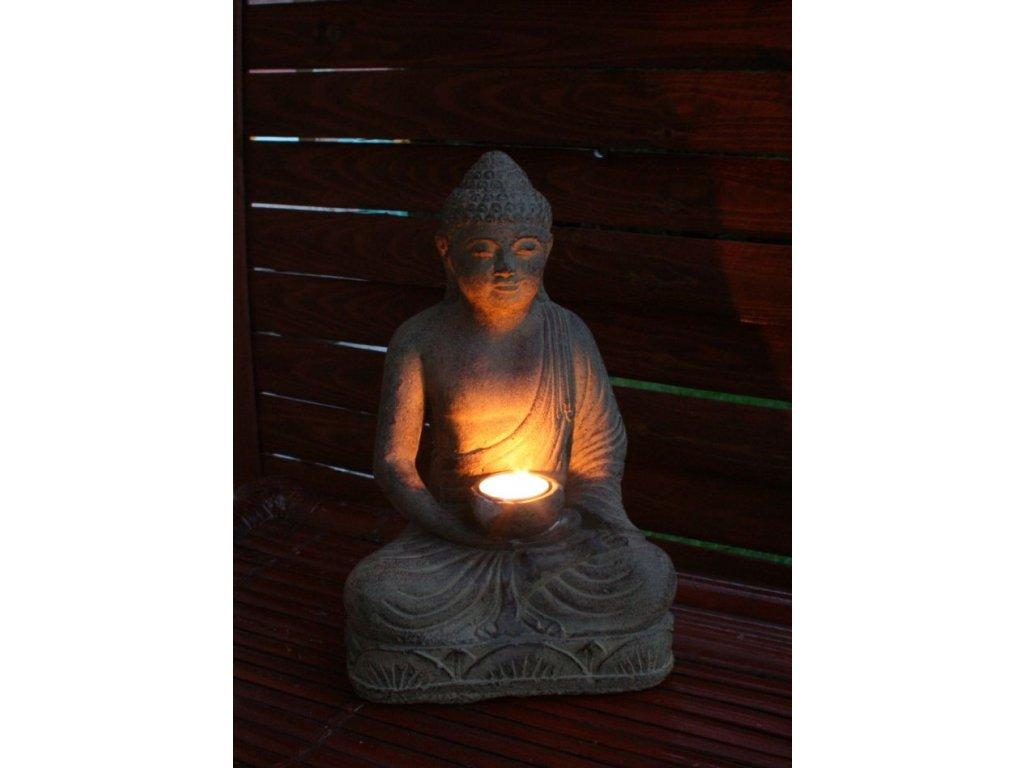 Socha Budha Buddha na čajovou svíčku 30cm patina BY