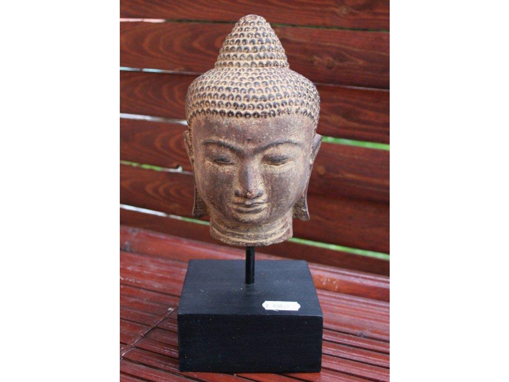 Socha Budha Buddha hlava na dřevěném podstavci 18cm patina BY