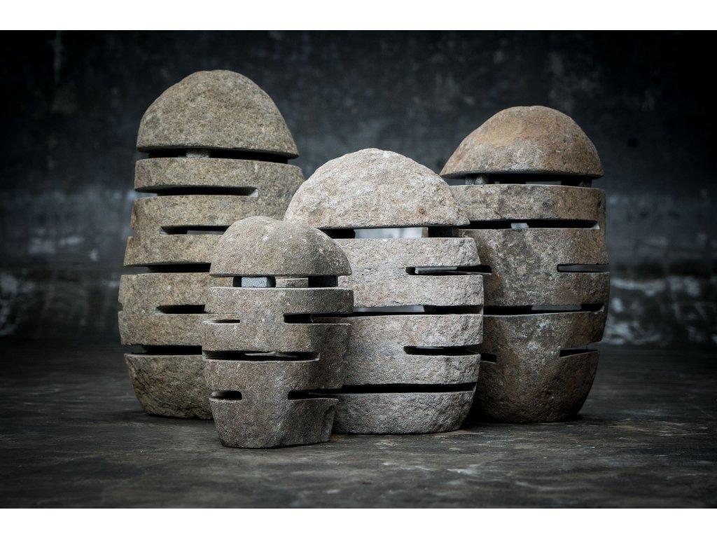 Lampa říční kámen - čedič 40cm natural