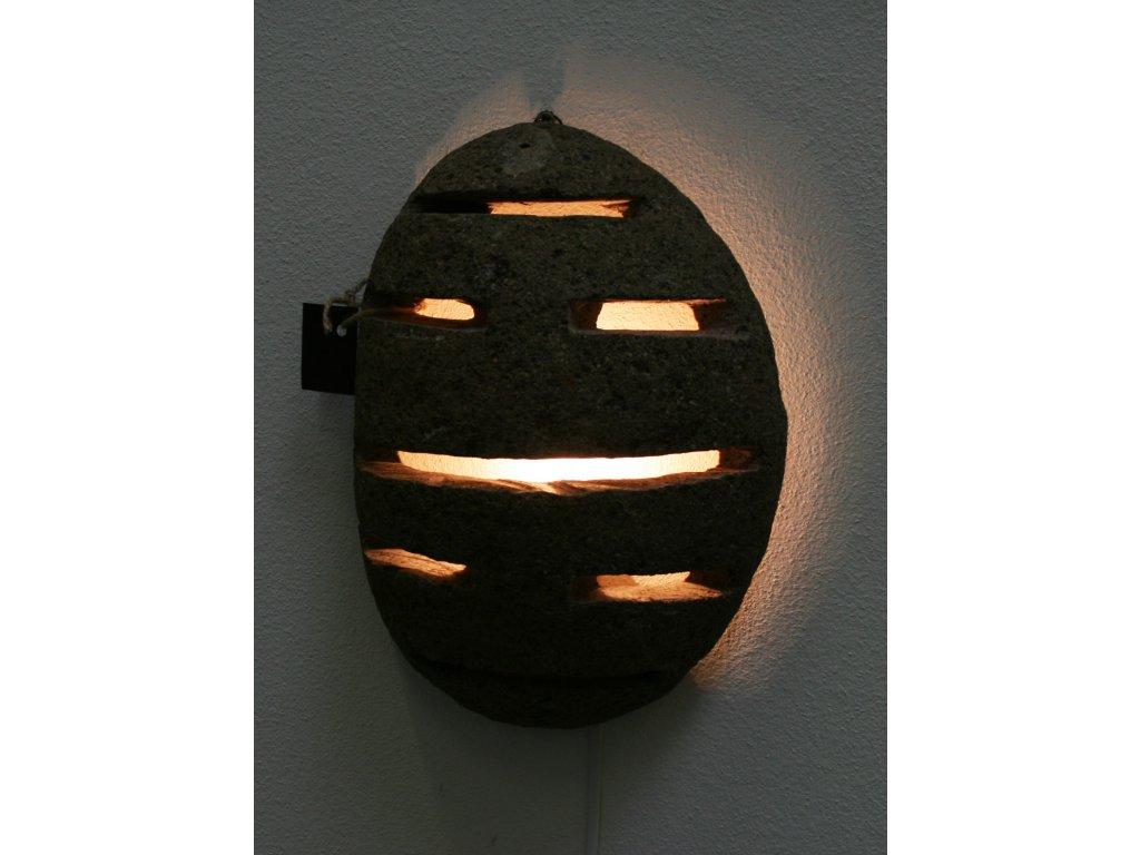 Závěsná lampa říční kámen - čedič 20-25cm