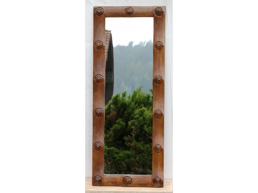 Dřevěné zrcadlo masiv s řezbou model 61 150x60cm