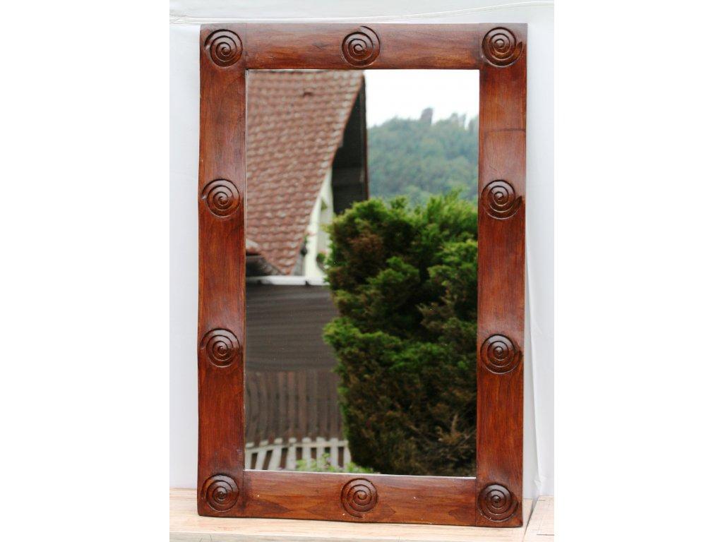 Dřevěné zrcadlo masiv s řezbou model 21 120x80cm