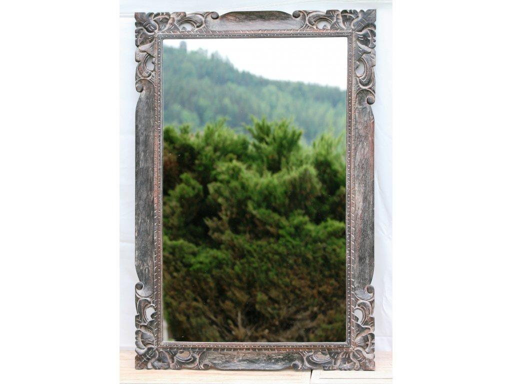Dřevěné zrcadlo masiv s řezbou model 22 120x80cm