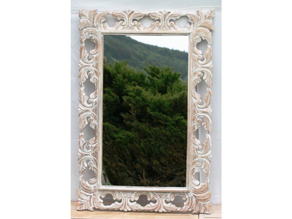 Dřevěné zrcadlo masiv s řezbou model 62 80x60cm