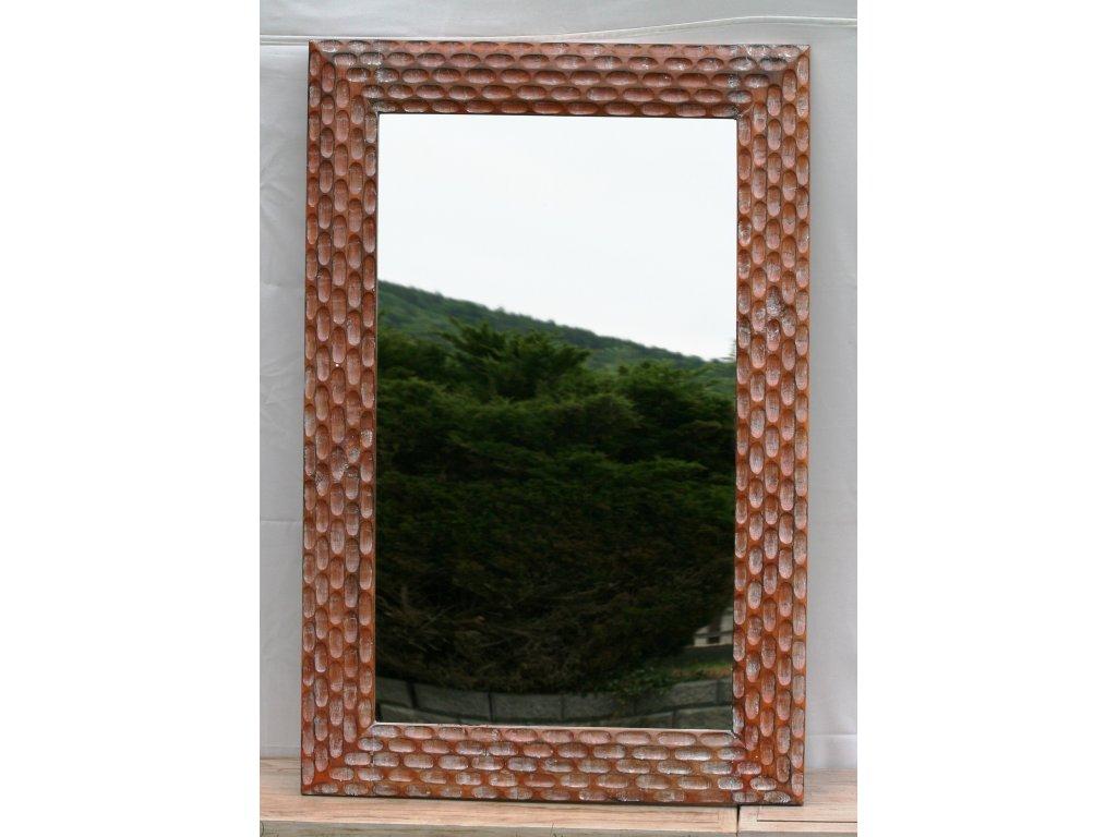 Dřevěné zrcadlo masiv s řezbou model 23 120x80cm