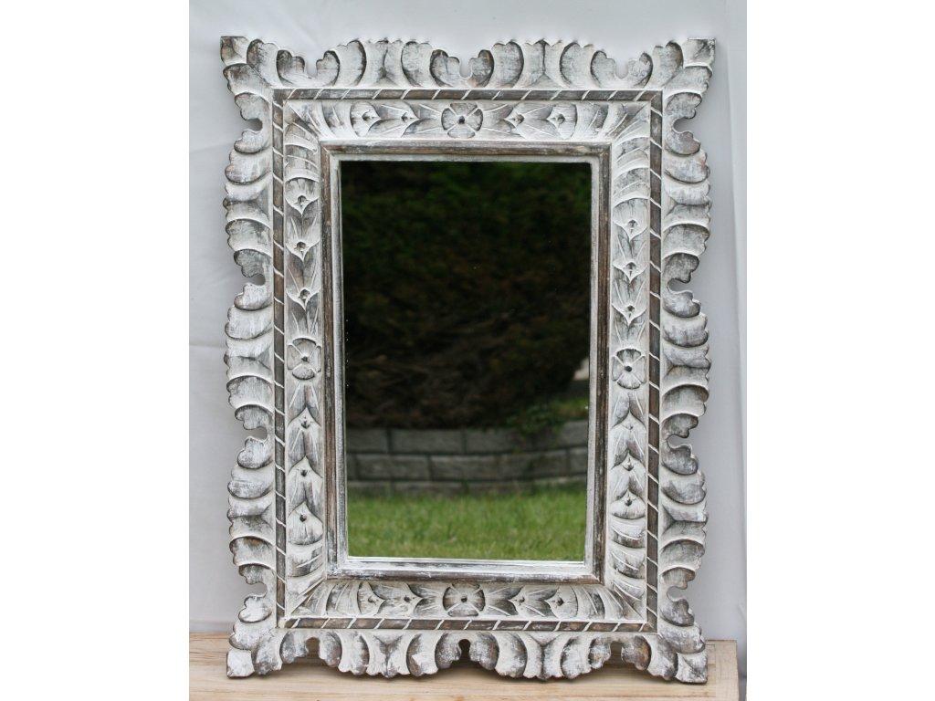 Dřevěné zrcadlo masiv s řezbou model 40 80x60cm