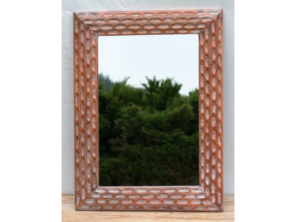 Dřevěné zrcadlo masiv s řezbou model 41 80x60cm model 41