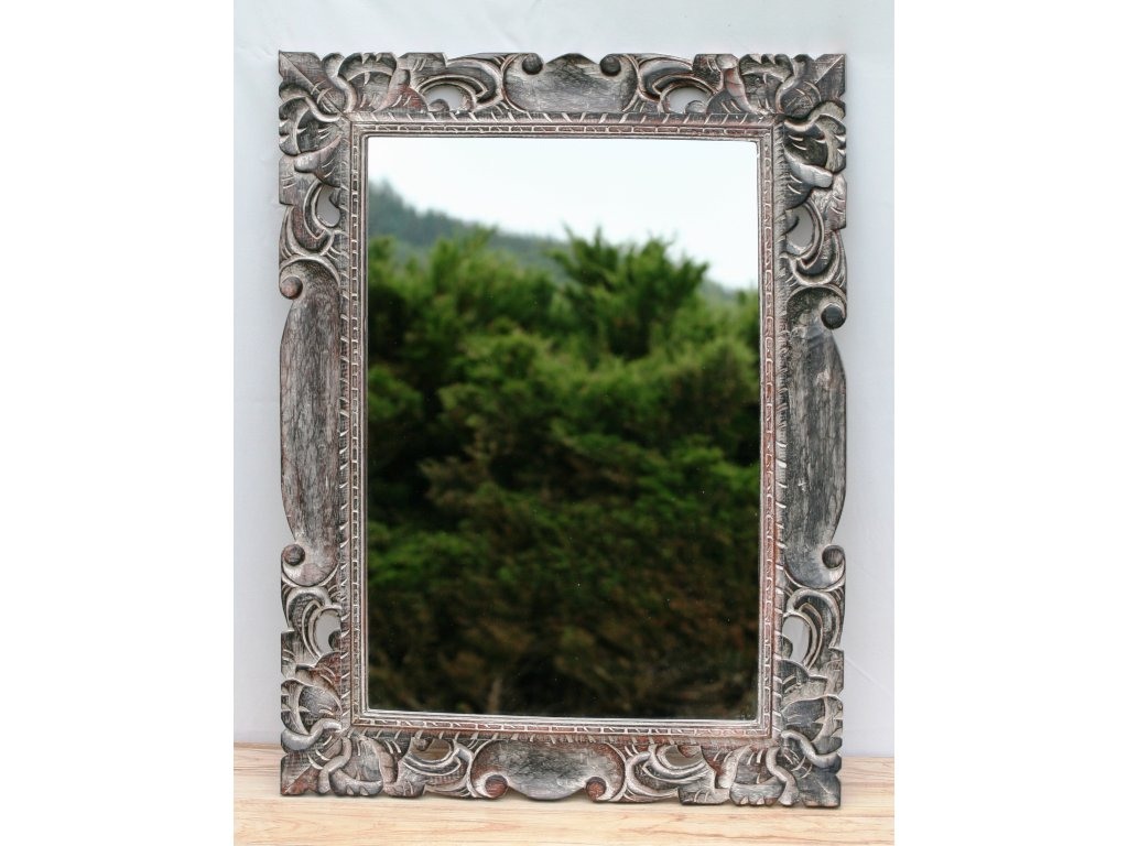 Dřevěné zrcadlo masiv s řezbou model 42 80x60cm